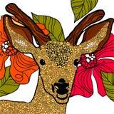 Deer head. Happy deer on flower background royalty free illustration