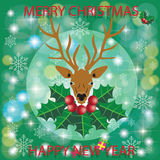 Deer head on berry leaf and snowflakes Stock Images