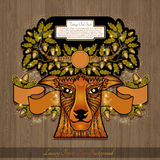 Deer head with horns from oak branches shiny banner on wood Royalty Free Stock Photography