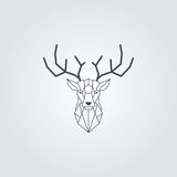 Deer head and horns polygonal design. Black color vector with grey background Royalty Free Stock Image