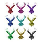 The deer head with horns on white background. Isolated image of the geometric shape.Color options. royalty free illustration