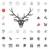Merry Christmas and Happy New Year icon. Vector illustration. Deer head icon. Merry Christmas and Happy New Year set icon. Vector illustration Royalty Free Stock Photography