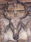 Deer head image. Ancient Roman decoration on the wall of a building. Deer head image. Ancient Roman decoration on the wall of a building, Rome, Italy. Nice stock photo