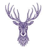 Deer head isolated on white background. Hand drawn vector illustration  Stock Image