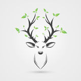 Deer head with leafs. Creative style. Vector illustration Royalty Free Stock Images