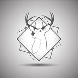 Deer head logo isolated on white background Stock Photo