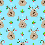 Deer head new year seamless pattern. Holiday Royalty Free Stock Photography