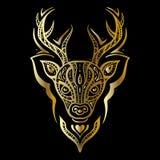 Deer head. Polynesian tattoo style Stock Photography