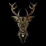 Deer head. Polynesian tattoo style Stock Photo