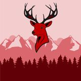 Deer, head, red, vector, background, silhouette, holiday, icon, celebration, illustration, decoration, abstract, design, face, hum. Head of red, noble deer with royalty free illustration