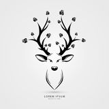 Deer head with roses- vector illustration. Creative style. Vector Royalty Free Stock Photography