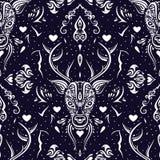 Deer head. Seamless pattern. Royalty Free Stock Photo