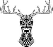 Deer head stylized in zentangle style. Tribal tattoo design. Vector Royalty Free Stock Images