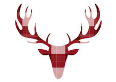 Deer head on tartan backgrounds,Vector illustrations Royalty Free Stock Photo