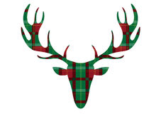 Deer head on tartan backgrounds,Vector illustrations Stock Images