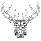 Deer head tattoo. psychedelic, zentangle style. Vector illustration on white background royalty free illustration