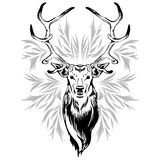 Deer Head Tattoo Style. Deer's Head created on Tattoo Art Style with Decorative elements all around it Royalty Free Stock Photography