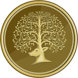 Deer Head Tree Antler Gold Coin Retro Royalty Free Stock Image