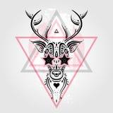 Deer head. Tribal pattern Stock Image