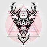 Deer head. Tribal pattern Stock Photos