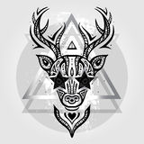 Deer head. Tribal pattern Stock Photography