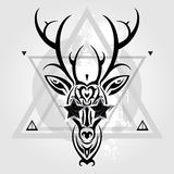 Deer head. Tribal pattern Royalty Free Stock Photo