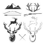 Deer head vector elements constructor for vintage hunting and hipster labels Stock Images