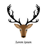 Deer head vector illustration, isolated elk logo Royalty Free Stock Photo