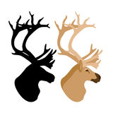 Deer head vector illustration style Flat set Stock Photos