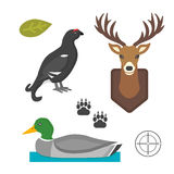 Deer head wild and bird duck silhouette mammal reindeer wildlife antler graphic and design horned stag drawing sign. Deer head and bird duck wild silhouette Royalty Free Stock Photography