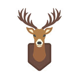 Deer head wild silhouette mammal reindeer wildlife antler graphic and design horned stag drawing sign trophy emblem hunt. Male vector illustration. Brown Royalty Free Stock Photo