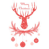 Deer head in wreath with Christmas decorations balls. Merry christmas greeting card vector illustration. Royalty Free Stock Photography