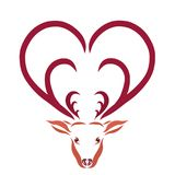 Deer with horns in the form of hearts.  Royalty Free Stock Photo