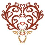 Deer with horns in hearts, beautiful pattern.  Royalty Free Stock Images