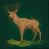 Deer with horns  illustration in polygonal style. Background wild animal. Low poly deer Stock Photo