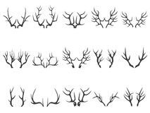Deer horns silhouettes. Isolated deer horns silhouettes on white background Royalty Free Stock Photo