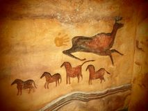 Deer and horse, imitation of the cave drawings. In the city royalty free stock photography