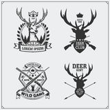 Deer hunt. Set of vintage hunting labels, badges and design elements. Royalty Free Stock Photos