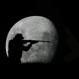Deer hunter and full moon. Vector illustration of deer hunter as silhouette pointing his rifle at night while the moon is rising in the sky Royalty Free Stock Photo