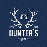 Deer Hunters Club Abstract Vintage Label or Logo Royalty Free Stock Photography