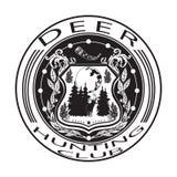 Deer hunting club badge flat vector illustration Stock Image