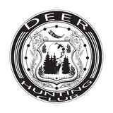 Deer hunting club badge vector illustration in flat style Stock Photography