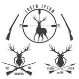 Deer hunting emblem set Stock Photos