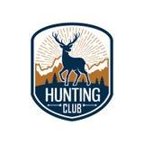 Deer hunting heraldic badge for hunt club design Royalty Free Stock Photos