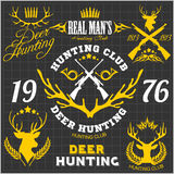 Deer hunting. Set of badges labels logo design Royalty Free Stock Images