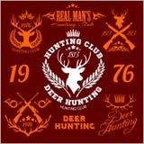 Deer hunting. Set of badges labels logo design Royalty Free Stock Photos
