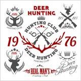 Deer hunting. Set of badges labels logo design Stock Photos