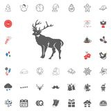 Merry Christmas and Happy New Year icon. Vector illustration. Deer icon. Merry Christmas and Happy New Year set icon. Vector illustration Stock Images