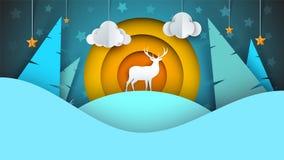 Deer illustration. Cartoon winter landscape. Vector eps 10 Royalty Free Stock Photo