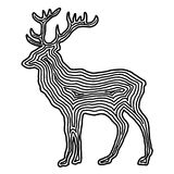 A deer illustration icon in black offset line. Fingerprint style Stock Photos